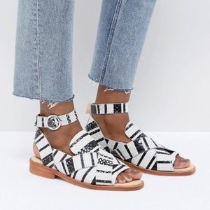 "Free People ""Catalina"" Black & White Sandal"
